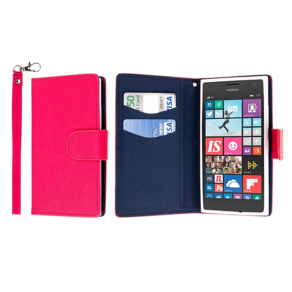Nokia Lumia 735 - Hot Pink MPERO FLEX FLIP Wallet Case Cover