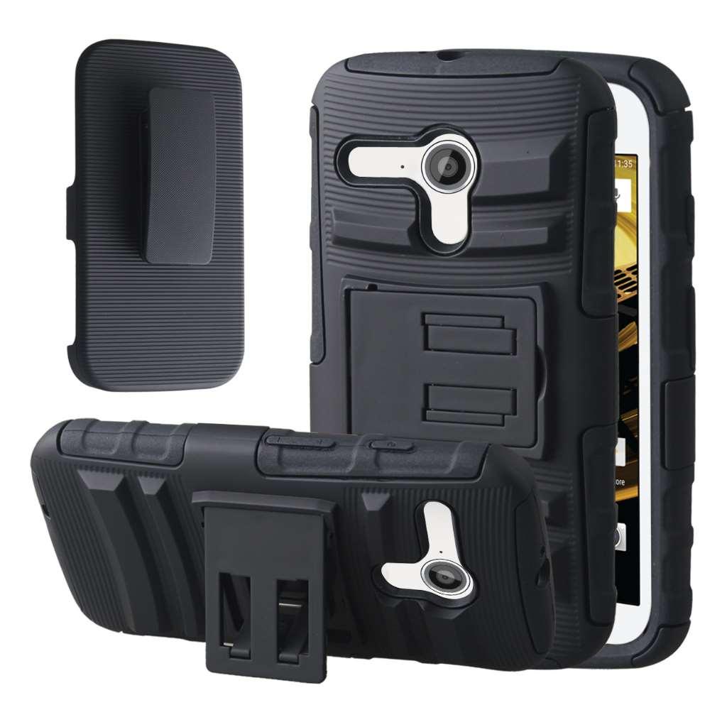 Motorola Moto E 2nd Generation - Black MPERO IMPACT XT - Kickstand Case