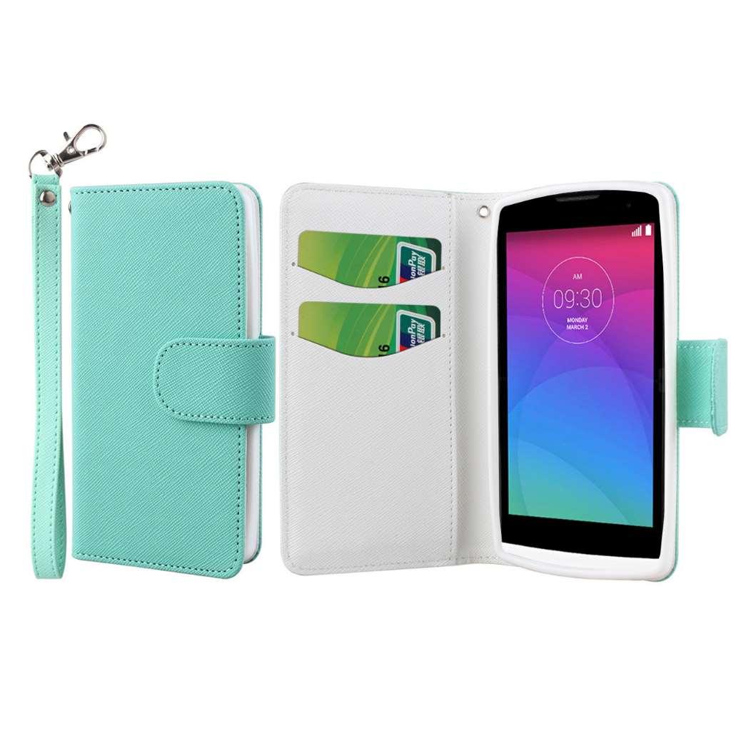 LG Leon - Mint MPERO FLEX FLIP Wallet Case Cover