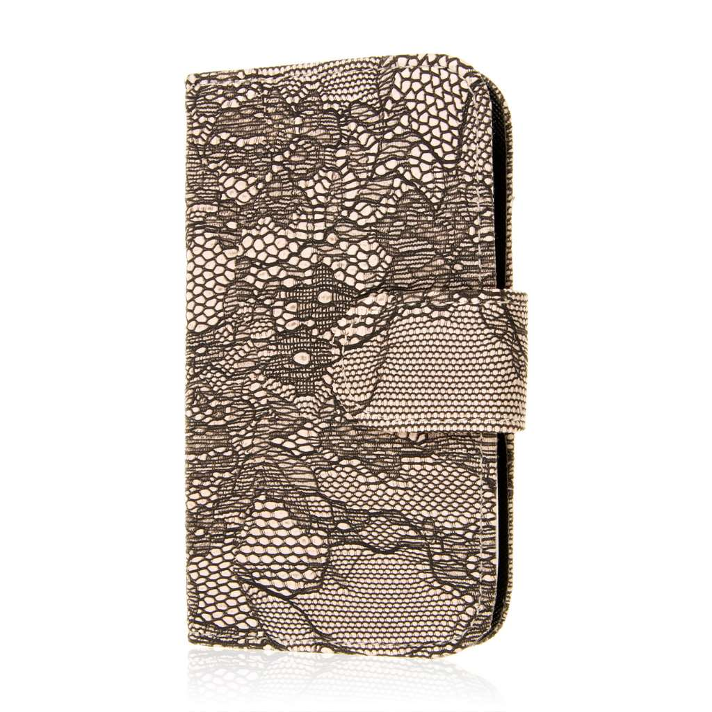 LG G4 - Black Lace MPERO FLEX FLIP Wallet Case Cover