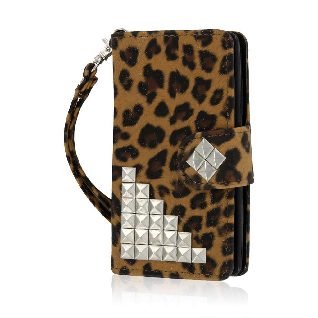 Nokia Lumia 521 - Studded Leopard MPERO FLEX FLIP Wallet Case Cover