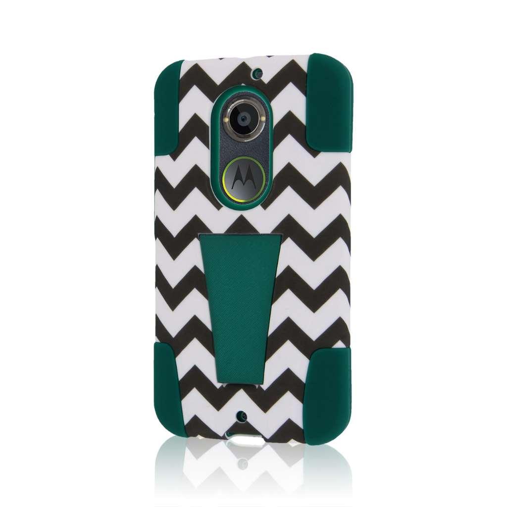 Motorola Moto X 2014 2nd Gen - Teal Chevron MPERO IMPACT X - Kickstand Case