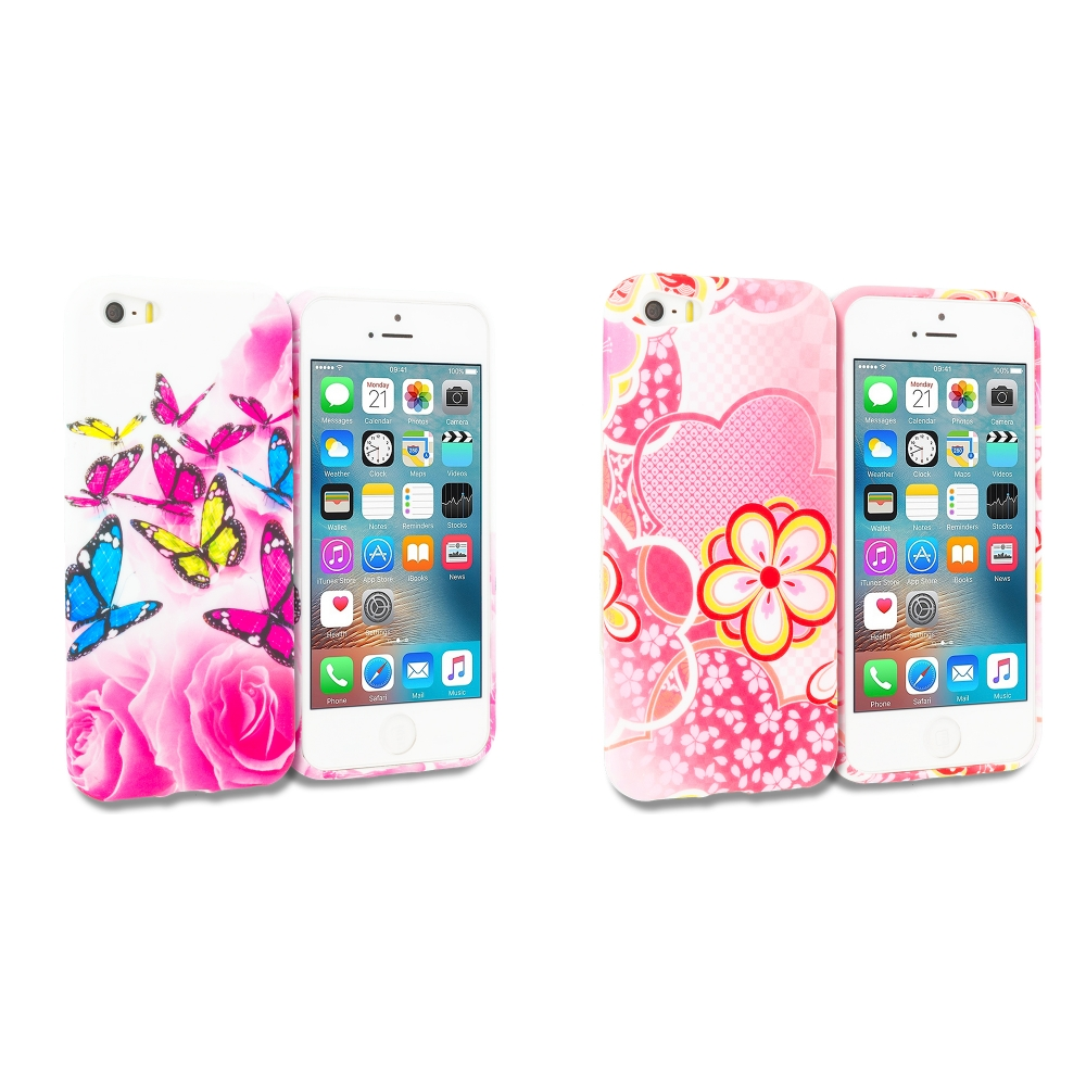 Apple iPhone 5/5S/SE Combo Pack : Pink Colorful Butterfly TPU Design Soft Rubber Case Cover