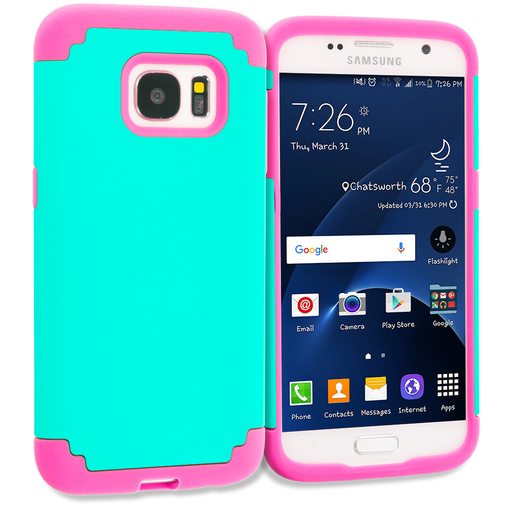 Samsung Galaxy S7 Teal / Hot Pink Hybrid Slim Hard Soft Rubber Impact Protector Case Cover