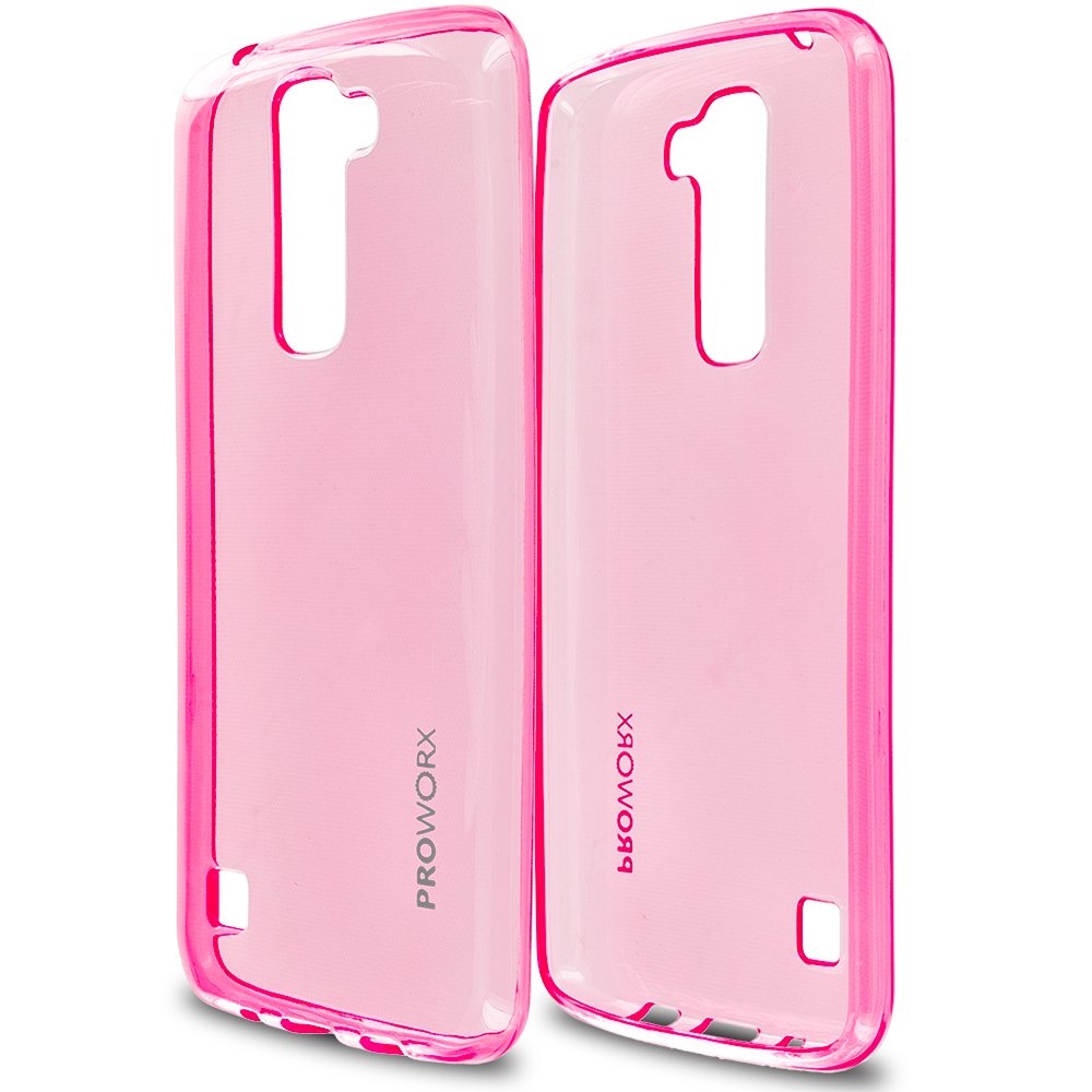 LG Tribute 5 K7 Phoenix 2 Escape 3 Treasure Hot Pink ProWorx Ultra Slim Thin Scratch Resistant TPU Silicone Case Cover