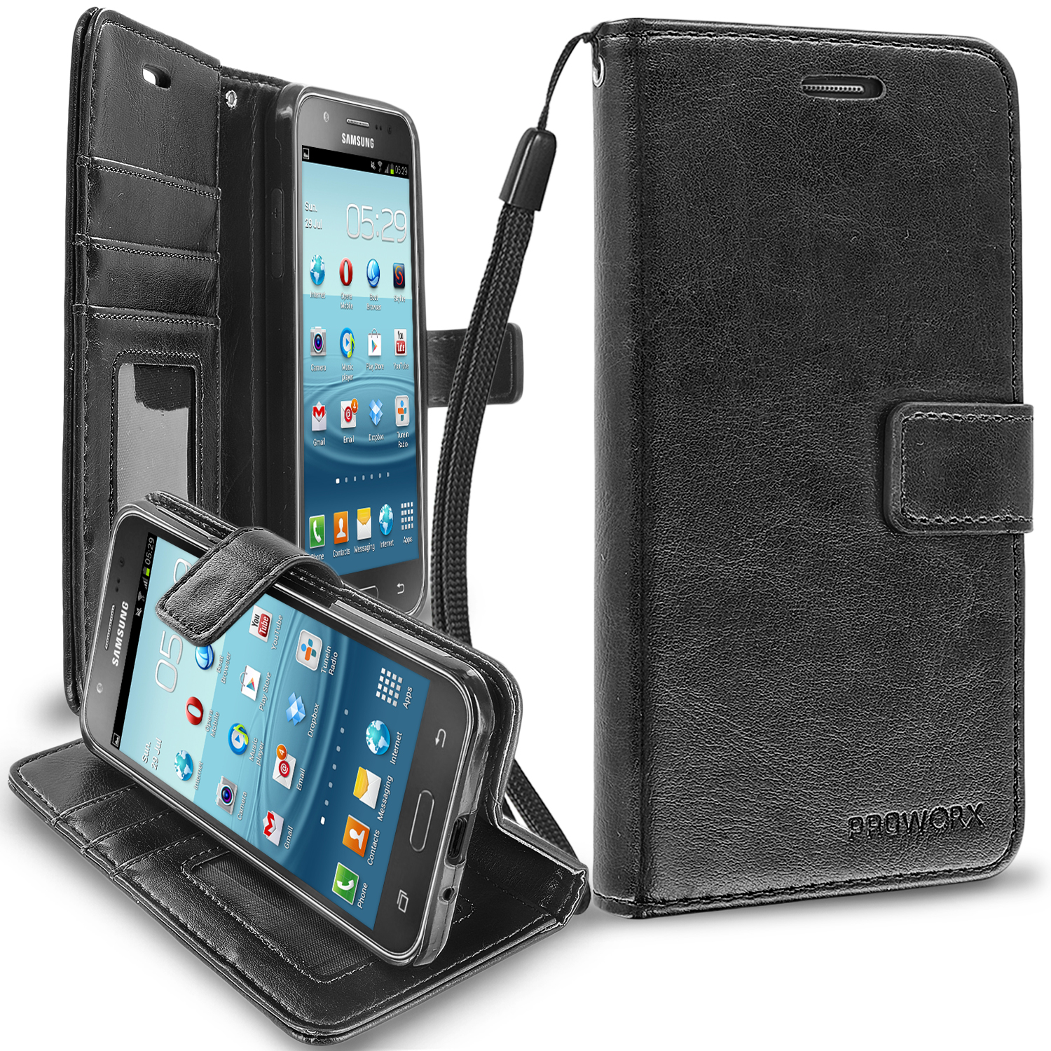 Samsung Galaxy J3 2016 Amp Prime Express Prime J3V Black ProWorx Wallet Case Luxury PU Leather Case Cover With Card Slots & Stand