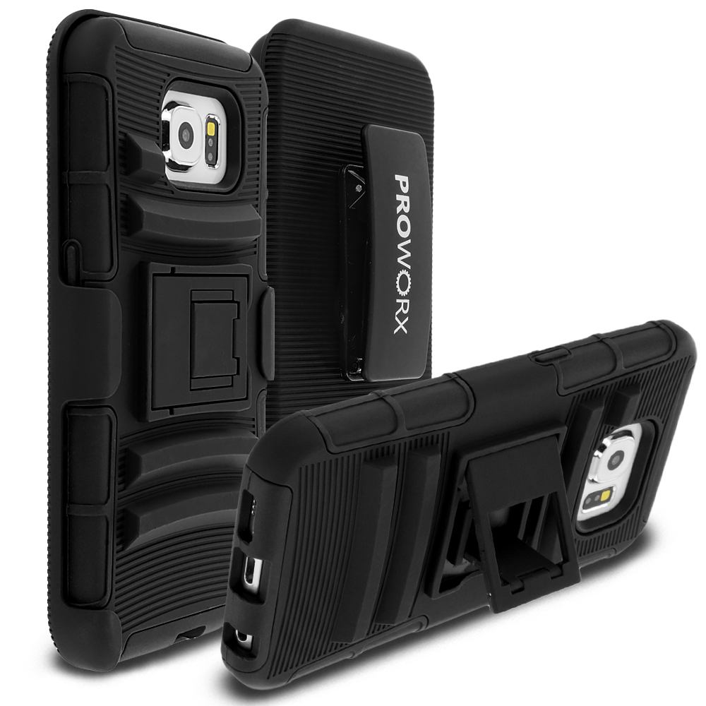 Samsung Galaxy S6 Black ProWorx Heavy Duty Shock Absorption Armor Defender Case Cover With Belt Clip Holster