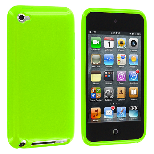 Apple iPod Touch 4th Generation Solid Neon Green TPU Rubber Skin Case Cover