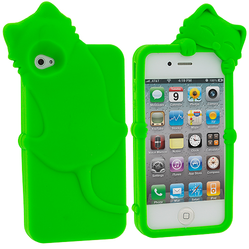 Apple iPhone 4 Neon Green Cat Silicone Design Soft Skin Case Cover