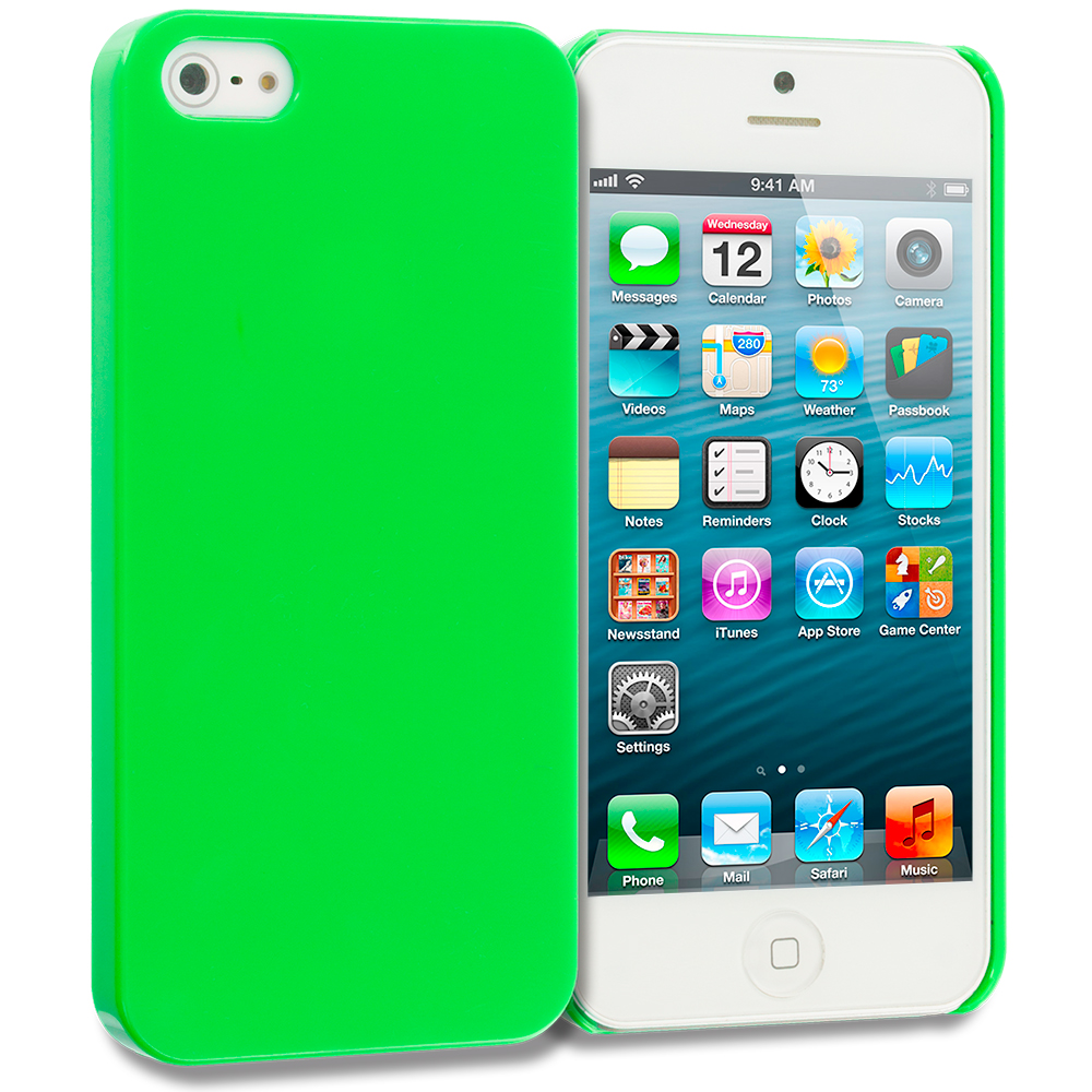 Apple iPhone 5/5S/SE Combo Pack : Baby Blue Solid Crystal Hard Back Cover Case : Color Neon Green Solid