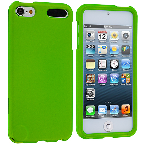 Apple iPod Touch 5th 6th Generation 2 in 1 Combo Bundle Pack - Neon Green Orange Hard Rubberized Case Cover : Color Neon Green