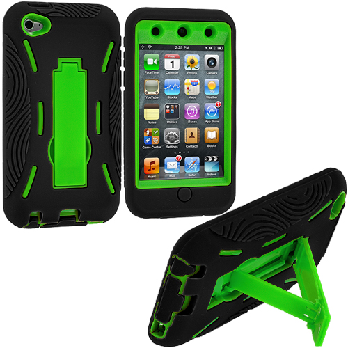 Apple iPod Touch 4th Generation Black / Green Hybrid Heavy Duty Hard/Soft Case Cover with Stand