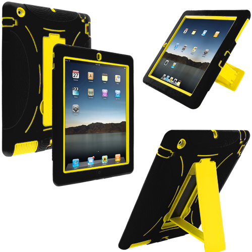 Apple iPad 4th 3rd 2nd Gen Black / Yellow Hybrid Heavy Duty Hard/Soft Case Cover with Stand
