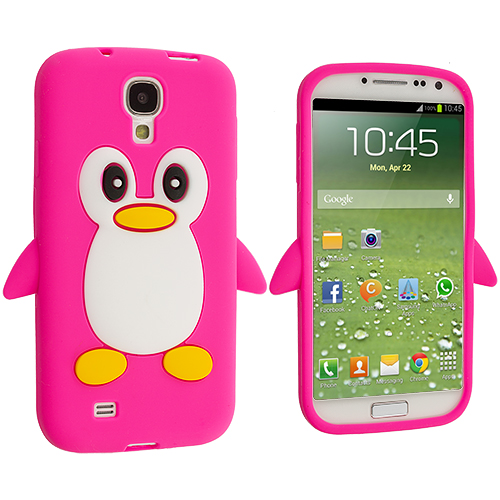 Samsung Galaxy S4 Hot Pink Penguin Silicone Design Soft Skin Case Cover