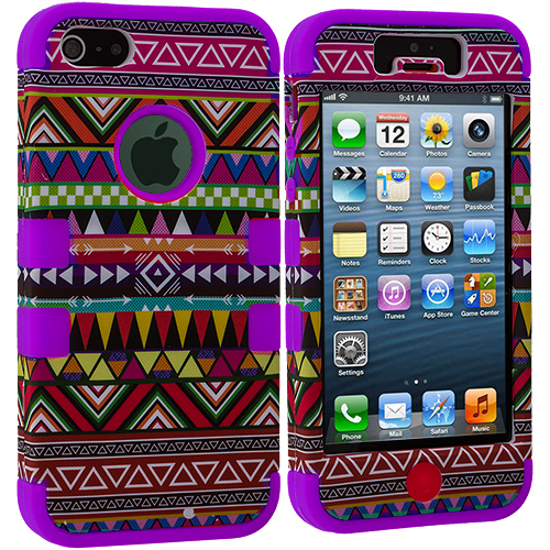 Apple iPhone 5/5S/SE Purple Tribal Hybrid Tuff Hard/Soft 3-Piece Case Cover