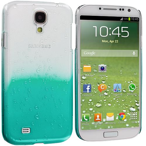 Samsung Galaxy S4 Baby Blue Crystal Raindrop Hard Case Cover