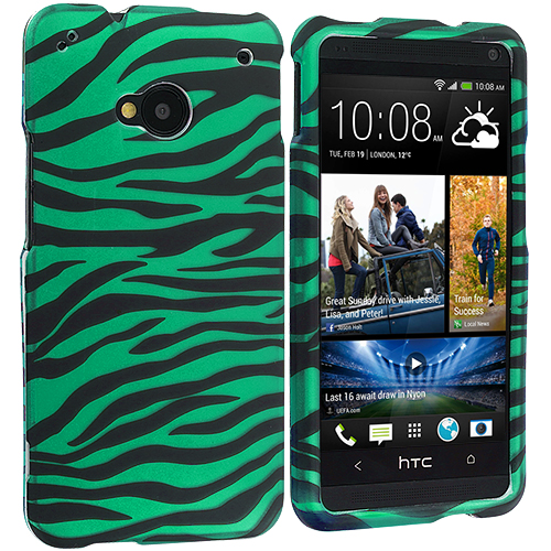 HTC One M7 Black / Baby Blue Zebra Hard Rubberized Design Case Cover