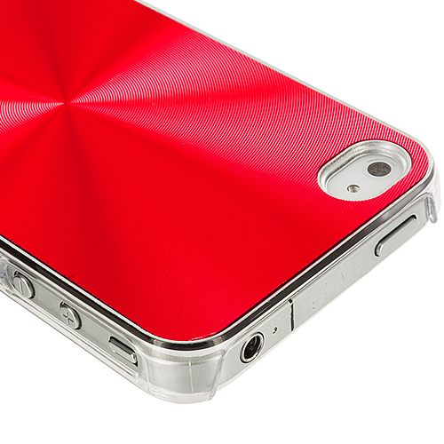 Apple iPhone 4 / 4S Red Aluminum Circles Case Cover