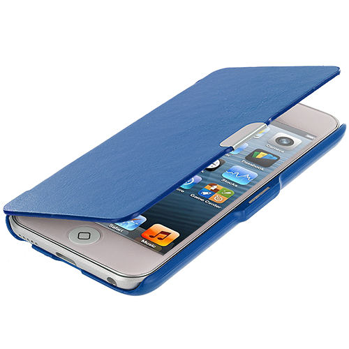 Apple iPod Touch 5th 6th Generation 3 in 1 Combo Bundle Pack - Black Blue Baby Blue Texture Magnetic Wallet Case Cover Pouch : Color Blue Texture