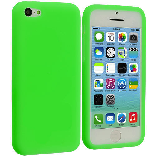 Apple iPhone 5C Neon Green Silicone Soft Skin Case Cover