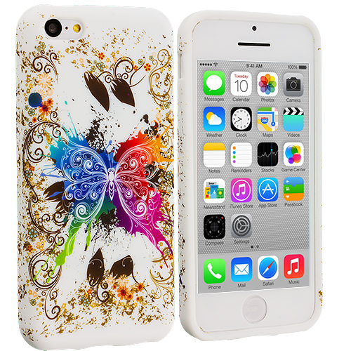 Apple iPhone 5C 2 in 1 Combo Bundle Pack - Butterfly Flower TPU Design Soft Case Cover : Color Colorful Butterfly