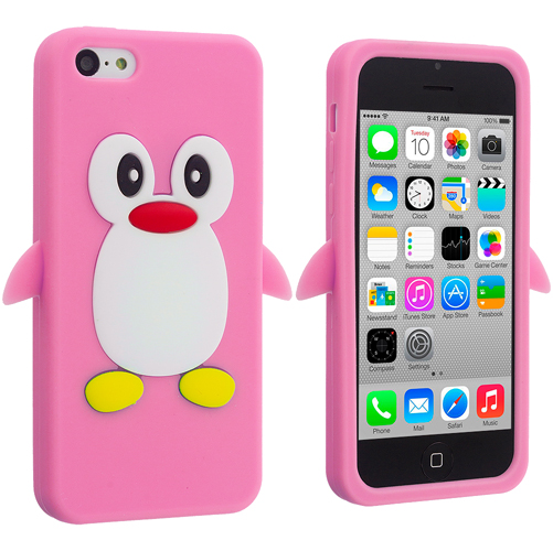 Apple iPhone 5C 2 in 1 Combo Bundle Pack - Light Pink White Penguin Silicone Design Soft Skin Case Cover : Color Light Pink Penguin