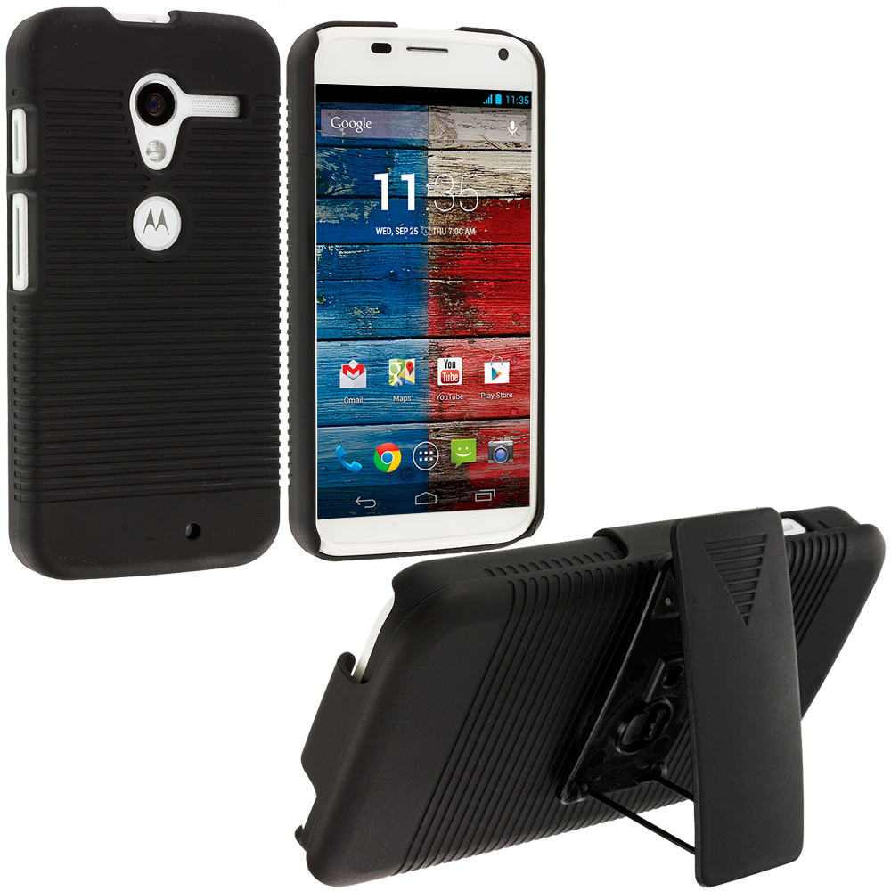 Motorola Moto X Black Hard Rubberized Belt Clip Holster Case Cover