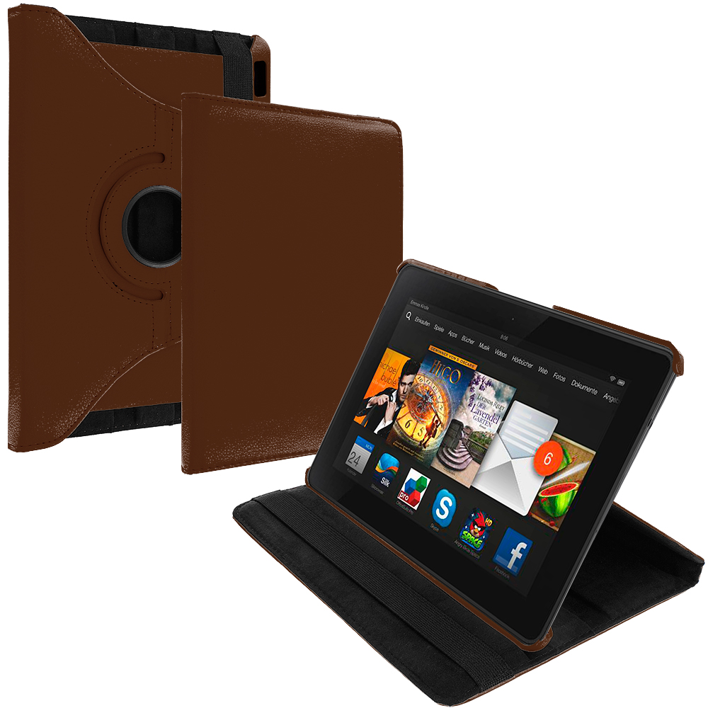 Amazon Kindle Fire HDX 7 Brown 360 Rotating Leather Pouch Case Cover Stand