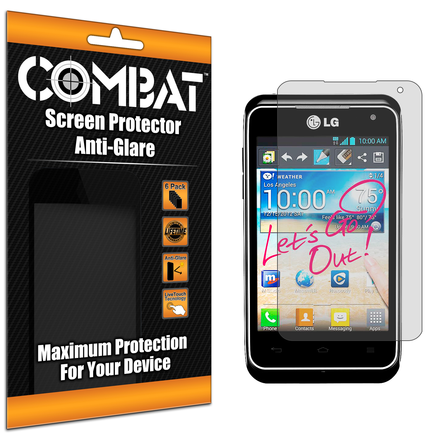 LG Motion MS770 Combat 6 Pack Anti-Glare Matte Screen Protector