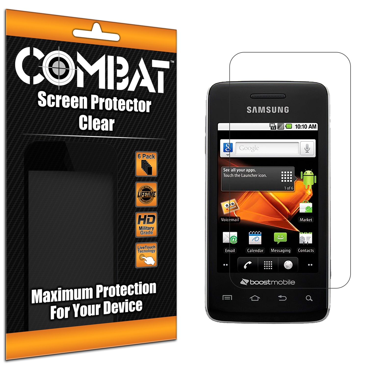 Samsung Galaxy Prevail M820 Combat 6 Pack HD Clear Screen Protector