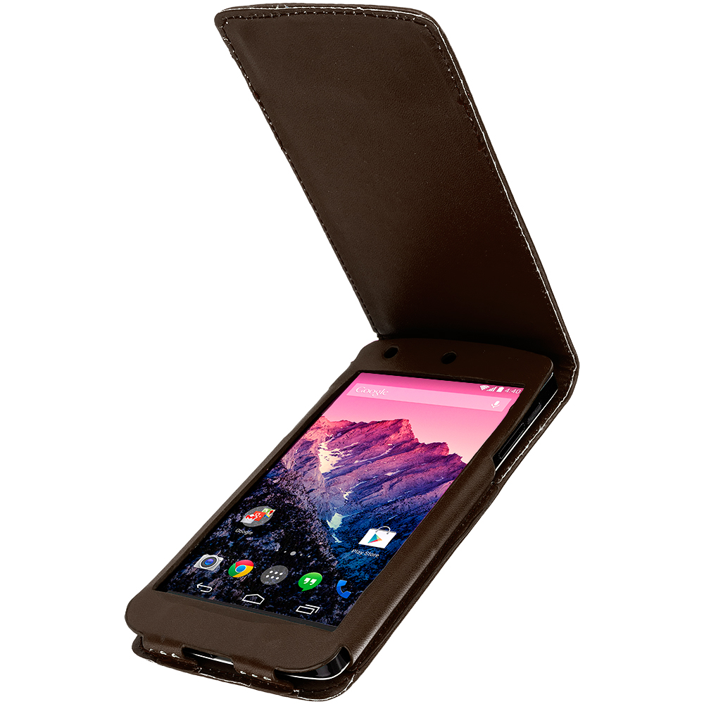 LG Google Nexus 5 Brown Wallet Flip Pouch Folio Case Cover