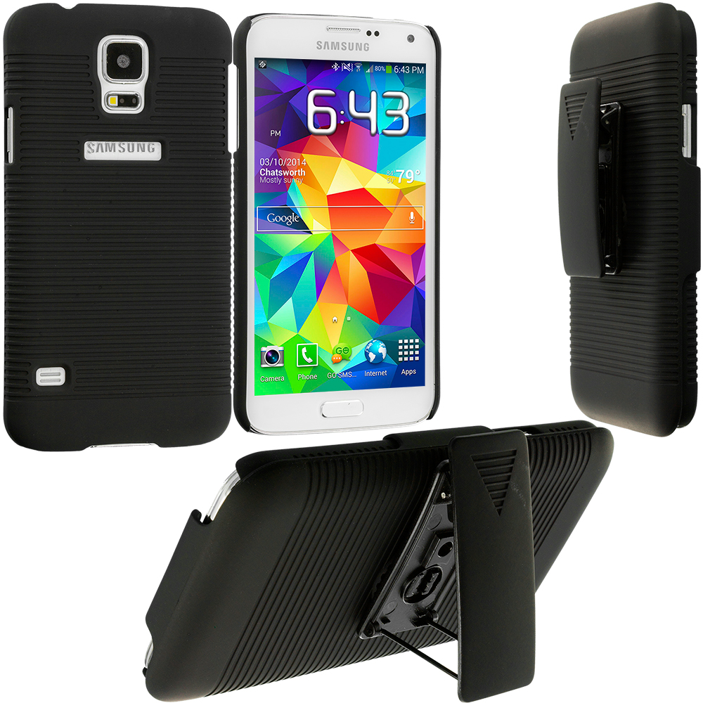 Samsung Galaxy S5 Black Hard Rubberized Belt Clip Holster Case Cover