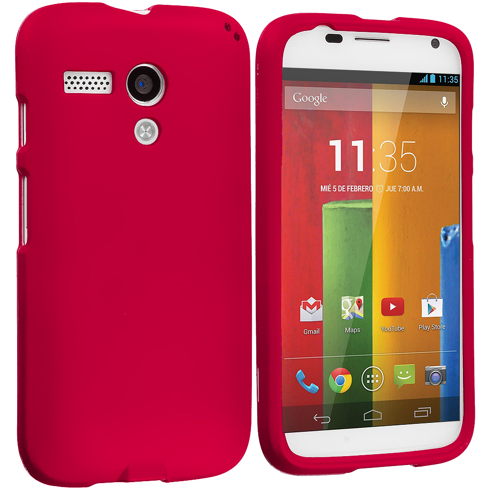 Motorola Moto G Red Hard Rubberized Case Cover
