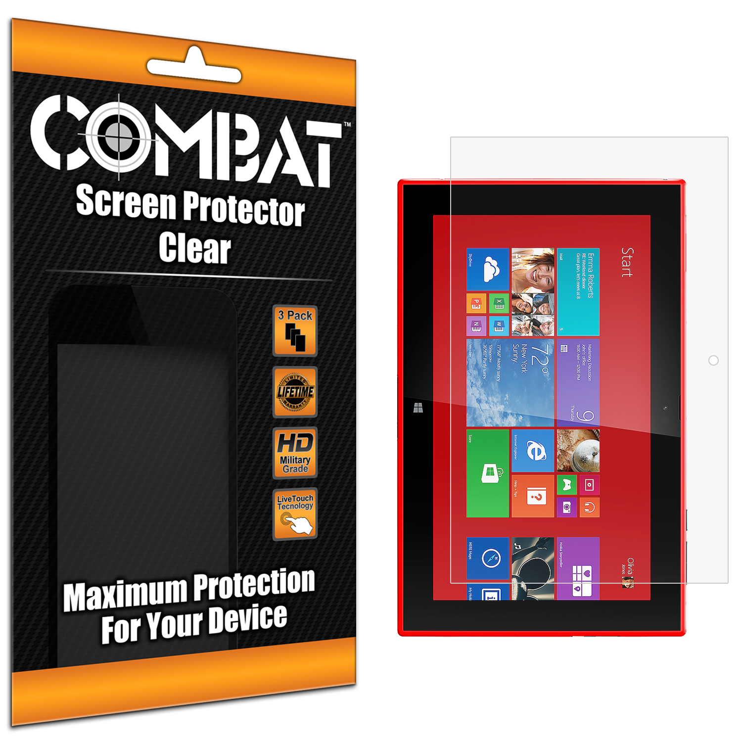 Nokia Lumia 2520 Combat 3 Pack HD Clear Screen Protector