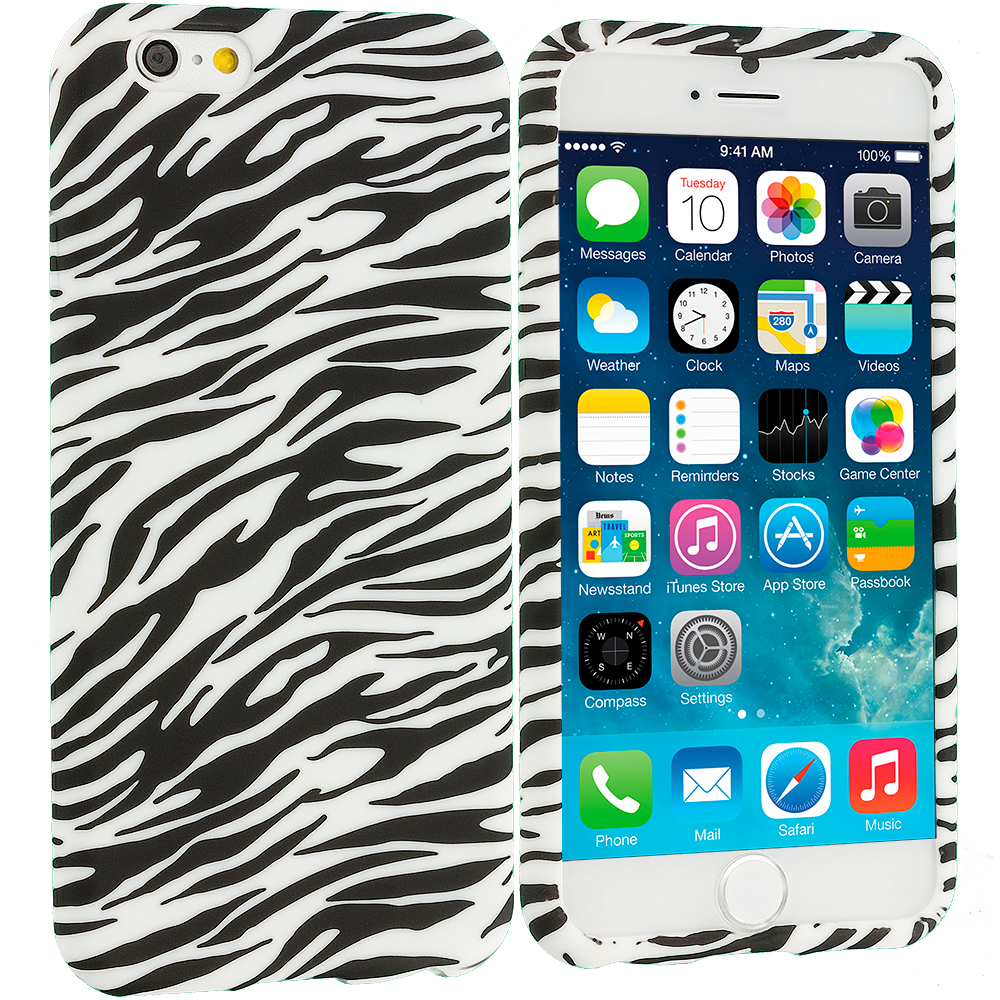Apple iPhone 6 6S (4.7) 8 in 1 Combo Bundle Pack - TPU Design Soft Case Cover : Color Black/White Zebra