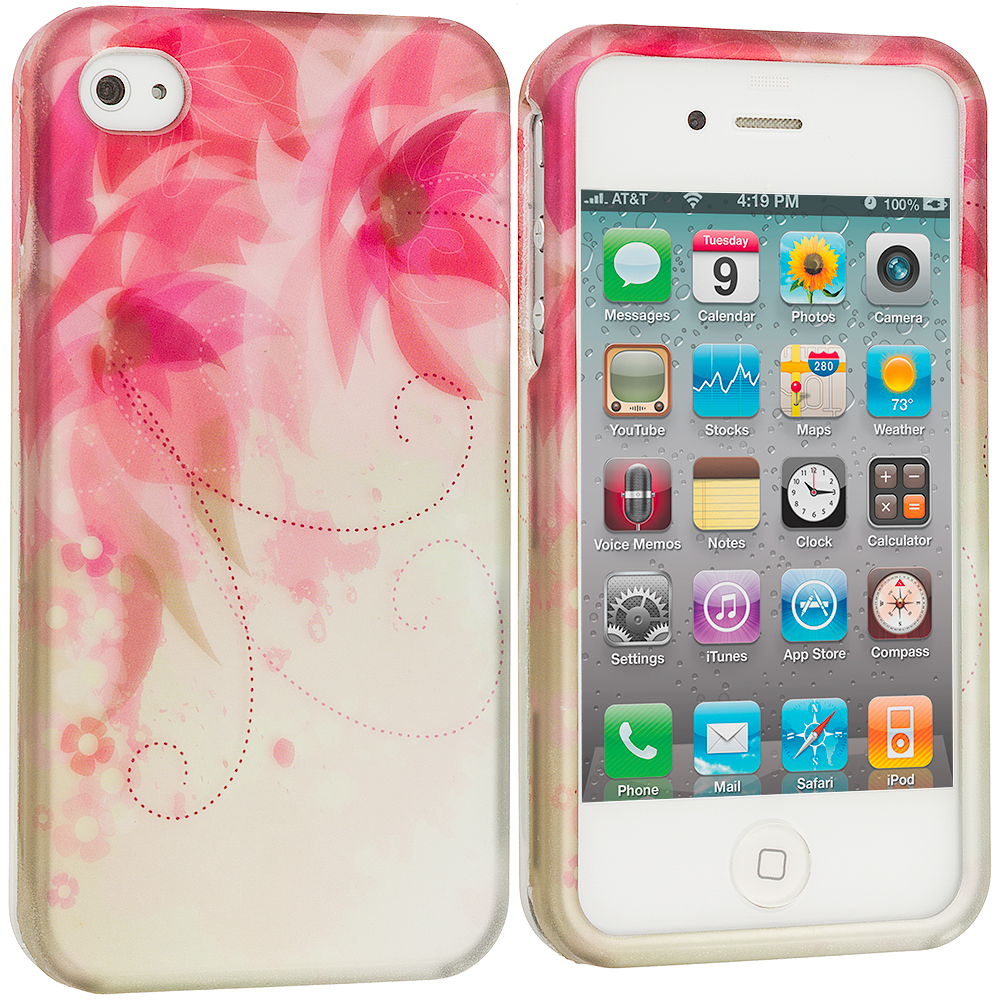 Apple iPhone 4 / 4S Flower with Red Leaf2D Hard Rubberized Design Case Cover