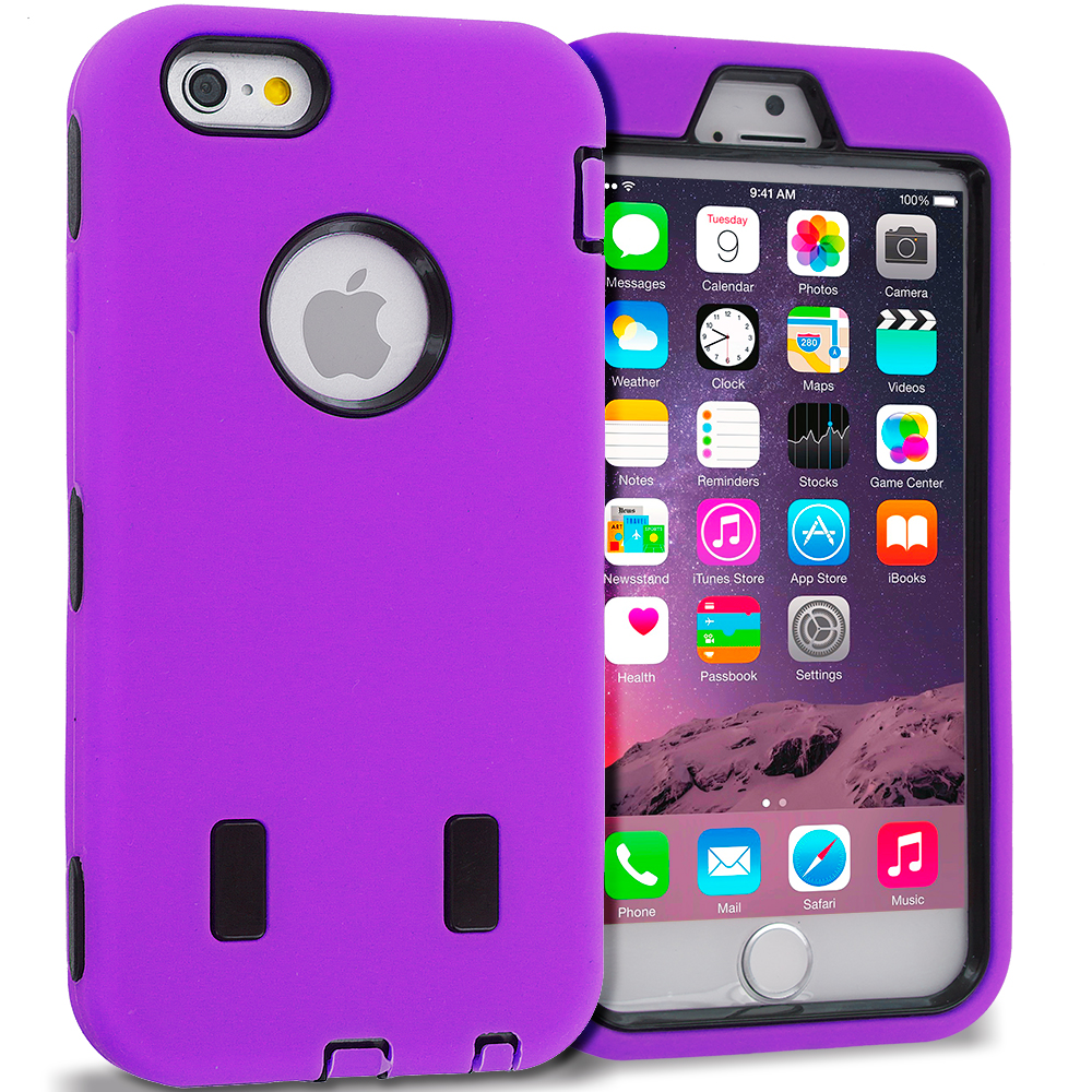 Apple iPhone 6 6S (4.7) Purple / Black Hybrid Deluxe Hard/Soft Case Cover