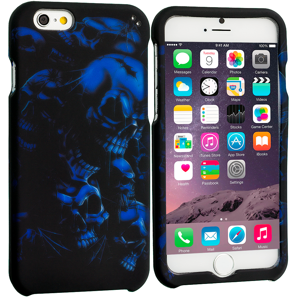 Apple iPhone 6 Plus 6S Plus (5.5) Black Blue Skull 2D Hard Rubberized Design Case Cover