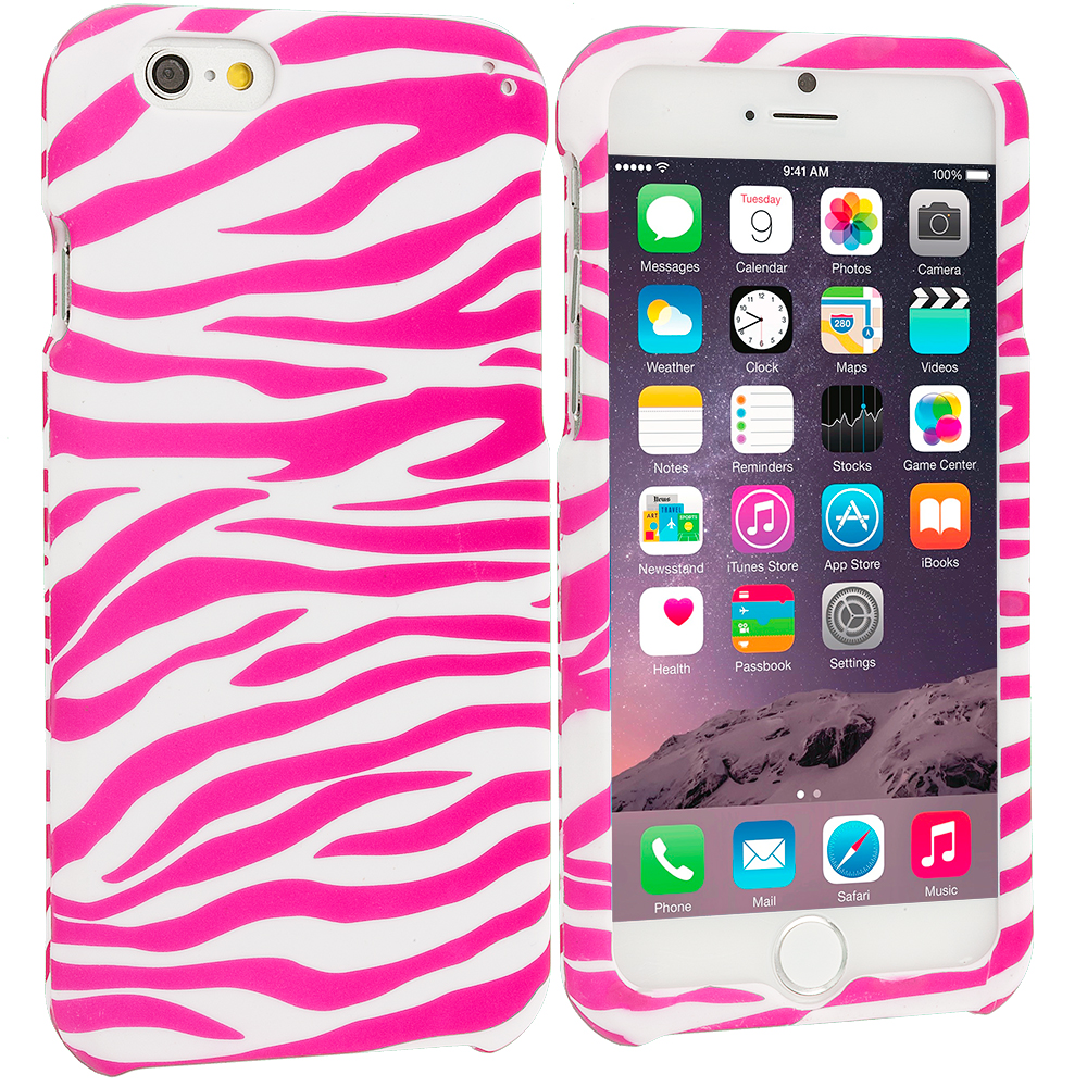 Apple iPhone 6 6S (4.7) Pink / White Zebra Hard Rubberized Design Case Cover