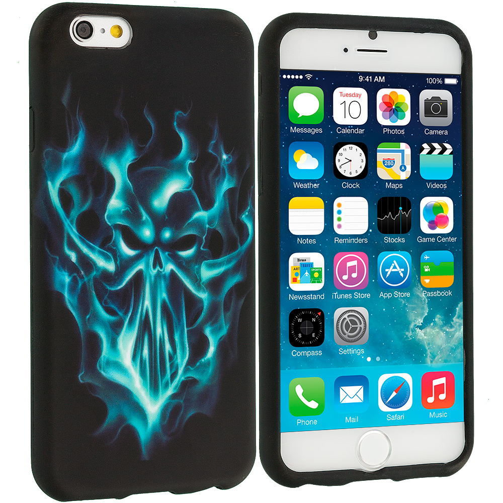 Apple iPhone 6 Plus 6S Plus (5.5) Blue Skull Face TPU Design Soft Rubber Case Cover