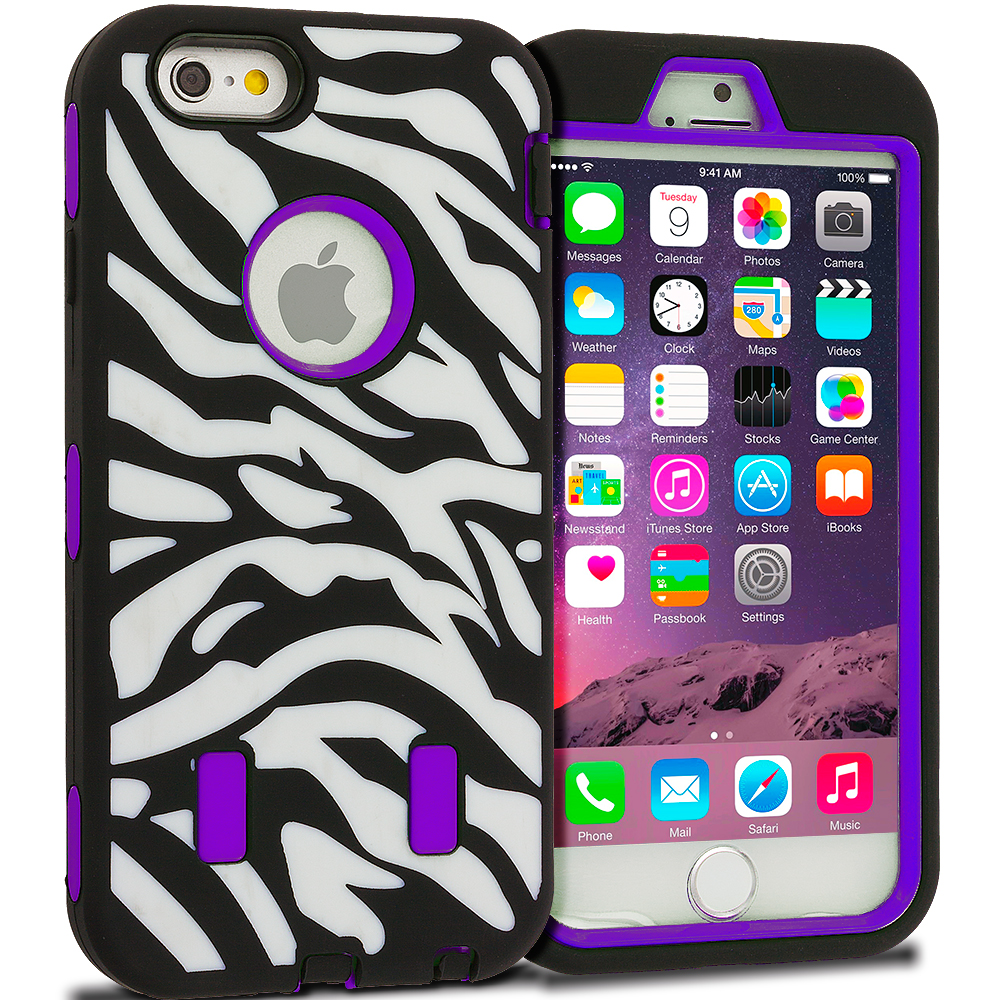Apple iPhone 6 Plus 6S Plus (5.5) Purple Zebra Hybrid Deluxe Hard/Soft Case Cover