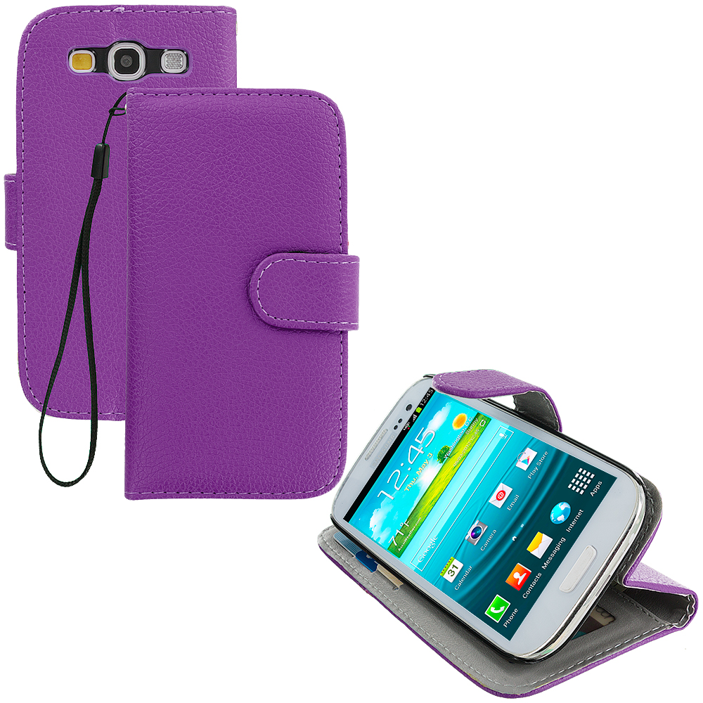 Samsung Galaxy S3 Purple Leather Wallet Pouch Case Cover with Slots
