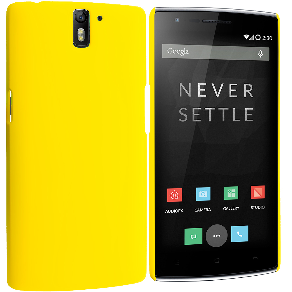 OnePlus One Yellow Hard Rubberized Back Cover Case