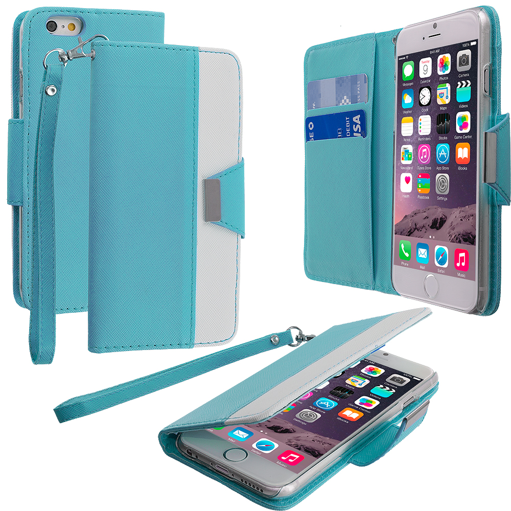 Apple iPhone 6 Plus 6S Plus (5.5) 5 in 1 Combo Bundle Pack - Wallet Magnetic Metal Flap Case Cover With Card Slots : Color Baby Blue