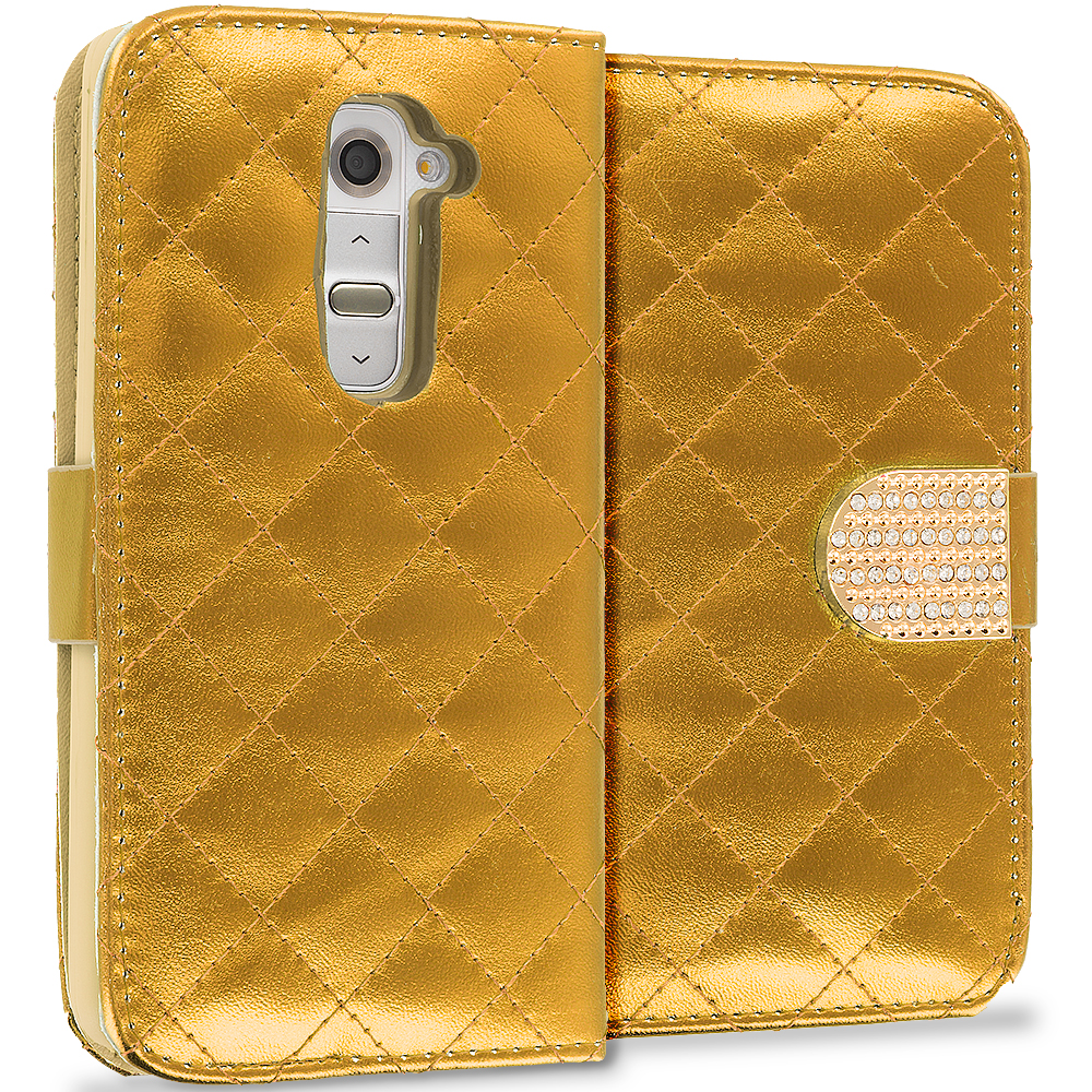 LG G2 Sprint, T-Mobile, At&t Gold Luxury Wallet Diamond Design Case Cover With Slots