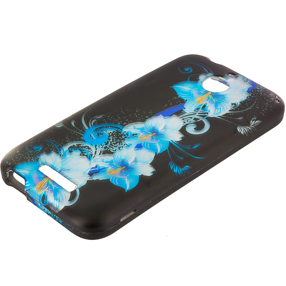 HTC Desire 510 Blue Flowers 2D Hard Rubberized Design Case Cover