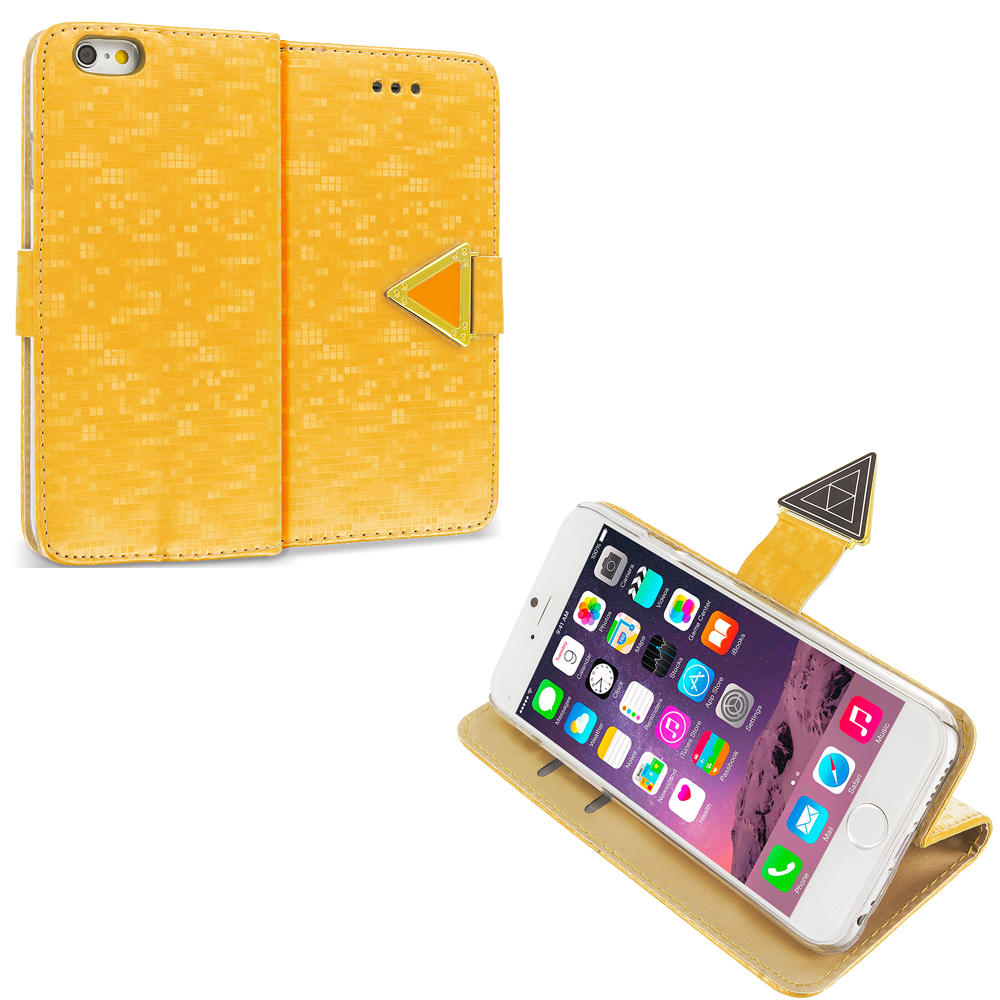 Apple iPhone 6 Plus 6S Plus (5.5) Gold Luxury Wallet Diamond Pixels Design Case Cover With Slots