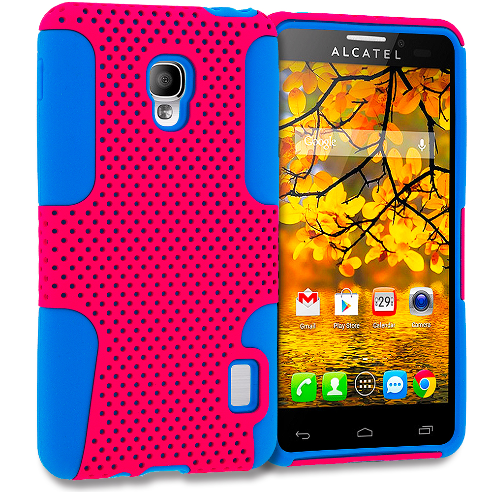 Alcatel One Touch Fierce 7024W Baby Blue / Hot Pink Hybrid Mesh Hard/Soft Case Cover