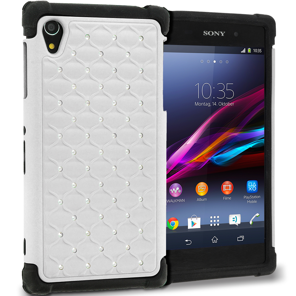 Sony Xperia Z1 White / Black Hard Rubberized Diamond Case Cover