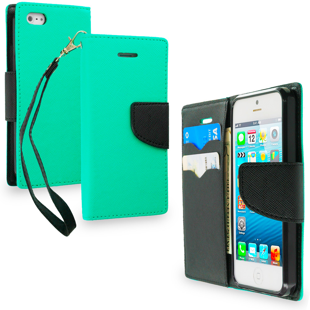 Apple iPhone 5/5S/SE Combo Pack : Black / Black Leather Flip Wallet Pouch TPU Case Cover with ID Card Slots : Color Mint Green / Black